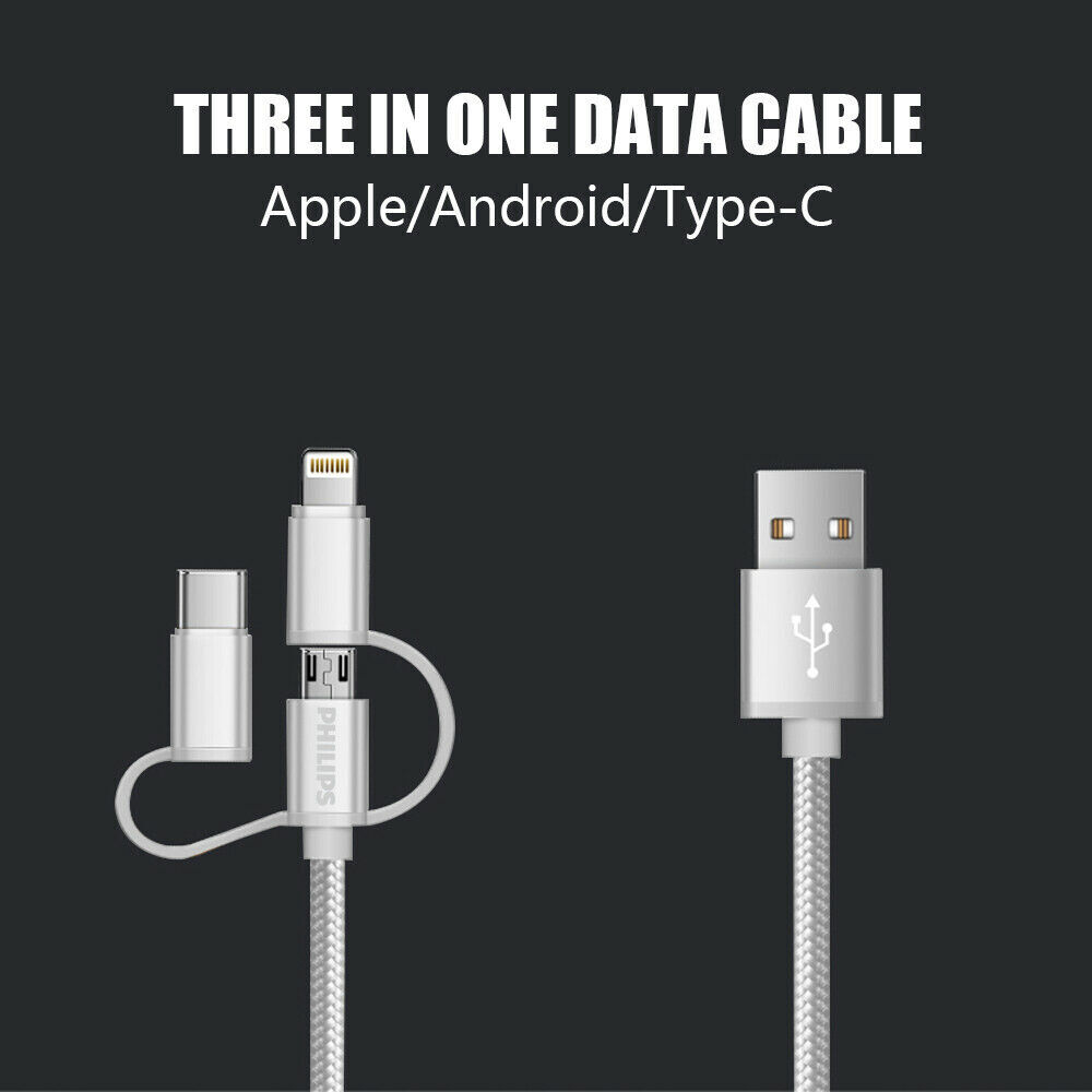 Philips-3-in-1-USB-A-to-Micro-and-Lightning-and-Type-C-Braided-cable-1-2m thumbnail 12